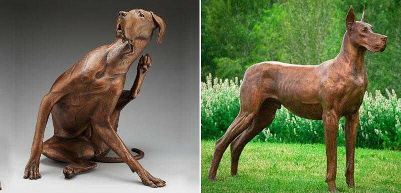 custom made bronze great dane statue for sale