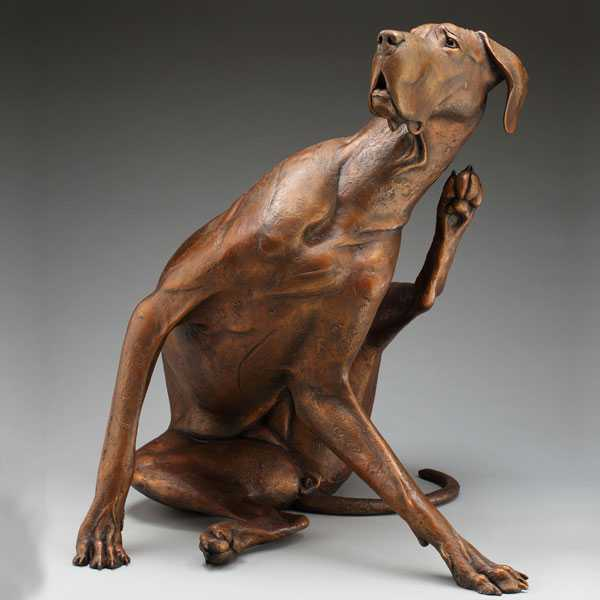 custom outdoor bronze dog sculpture