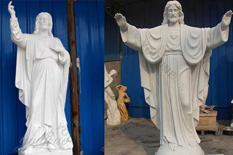 Church White Marble Jesus Statue Open Arms for Sale