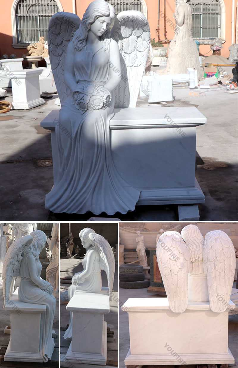 large white marble angel headstone for grave for sale