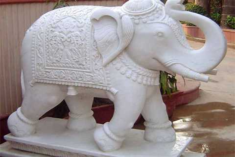White Marble Elephant Statue For A Mauritius Temple