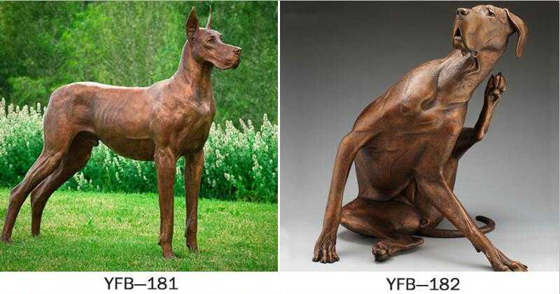 life size antique bronze dog statues for sale