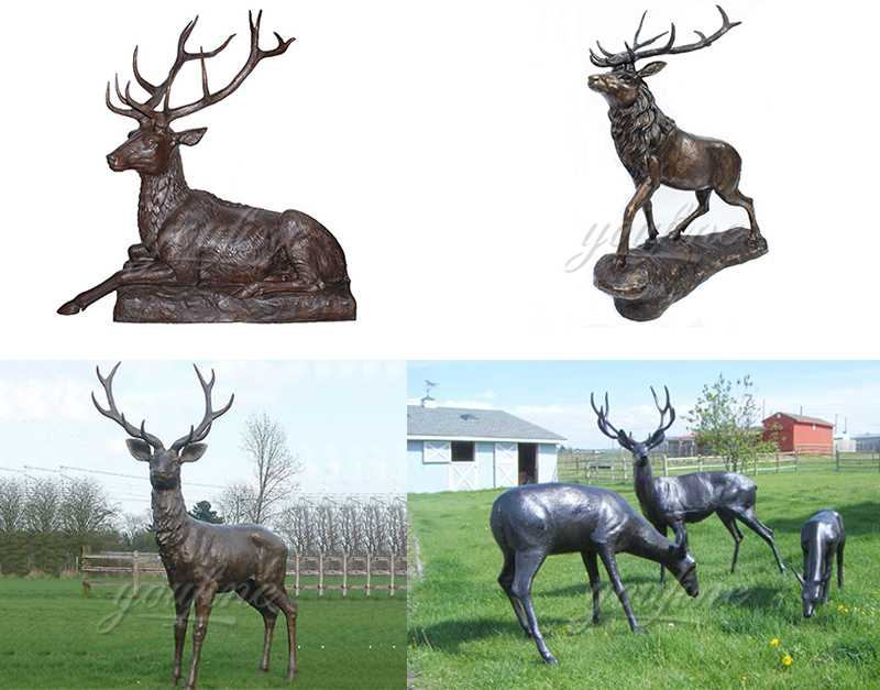 life size casting bronze deer statue for sale