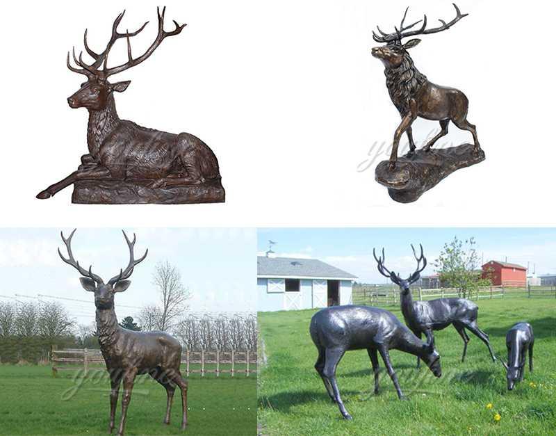 life size casting bronze deer statue for sale