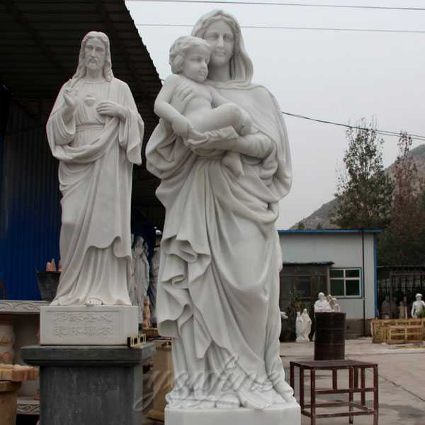 marble catholic statue virgin mary with baby statue for sale