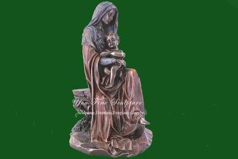 Large Outdoor Mary and Baby Jesus Bronze Statue