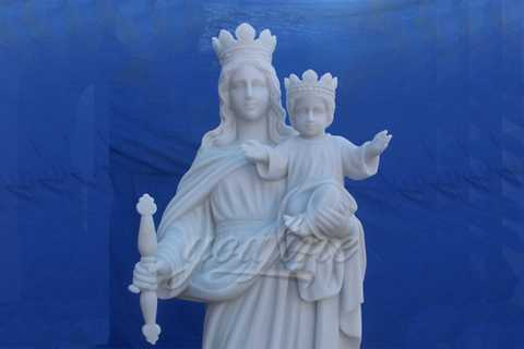 Stone Life Size Virgin Mary Hold Baby Jesus Marble Statue