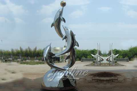 Mirror polished stainless steel dolphin sculpture for sale