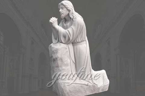 Hand Carved Large White Marble Jesus Statue for Sale