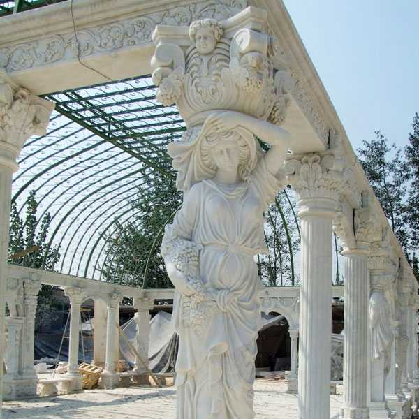 Grand classical greek style white marble pavilion gazebo with elegant woman statues for wedding ceremony decoration