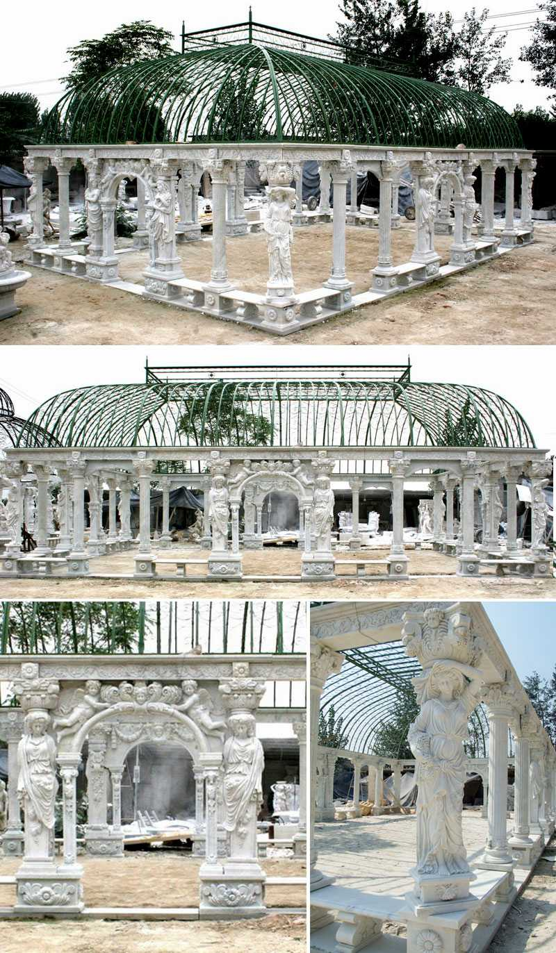 Grand-classical-greek-style-white-marble-pavilion-gazebos-with-elegant-woman-statue-for-wedding-ceremony-decoration