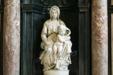 White Marble Religious Our Lady Virgin Mary and Kid Statue for Sale