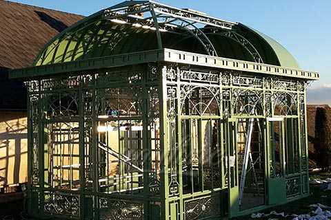 High Tech Garden Decoration Waterproof Green House Wrought Iron Gazebo