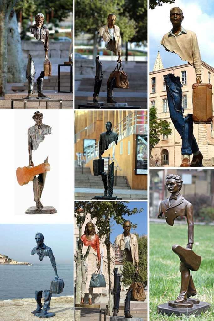 Outdoor-Garden-Bronze-Traveler-Sculptures