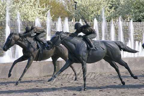 Life Size Bronze Horse Statue with Man Riding BHS-01