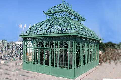 Outdoor Ornamental Garden Wrought Iron Gazebo For Sale