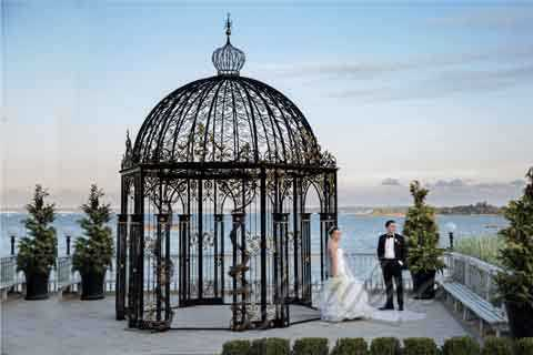 Outdoor Ornamental Garden Wrought Iron Gazebo for Weddings For Sale–IOK-24