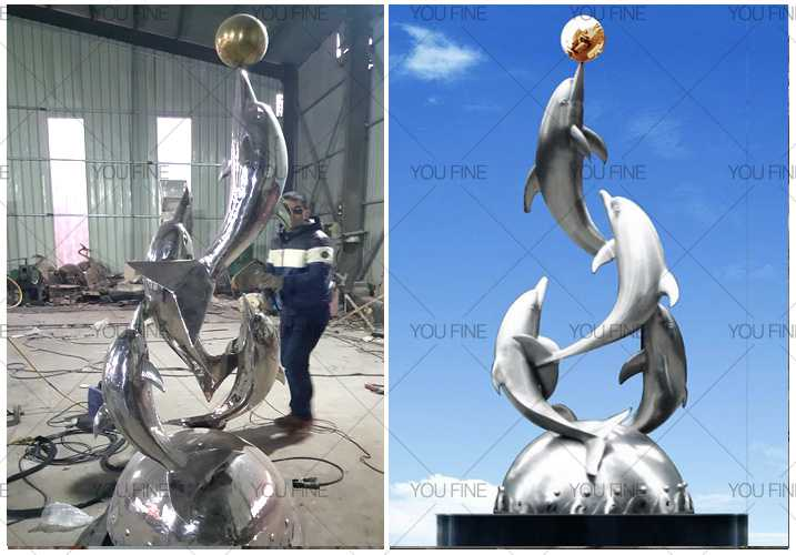large outdoor stainless steel dolphin sculpture