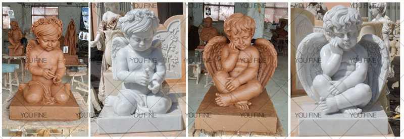 White Marble Four Seasons Cherub Set Of Four Statues For Garden Decor