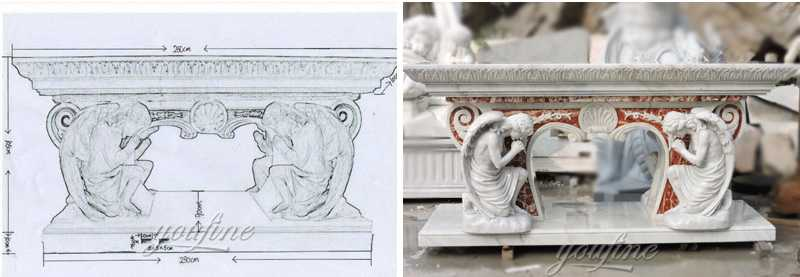Church marble altar sculpture drawing