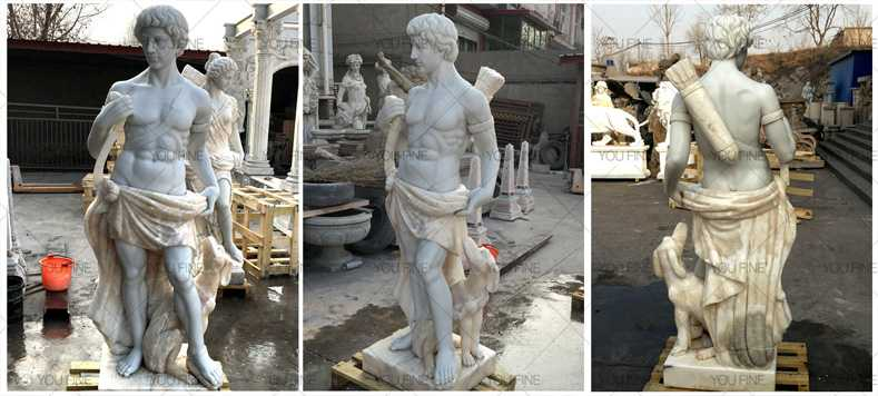 Outdoor life size marble sculptures of Artemis god of hunt