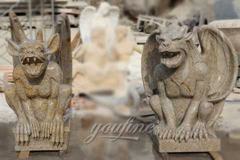 Outdoor garden decor yellow granite stone gargoyles statues for sale