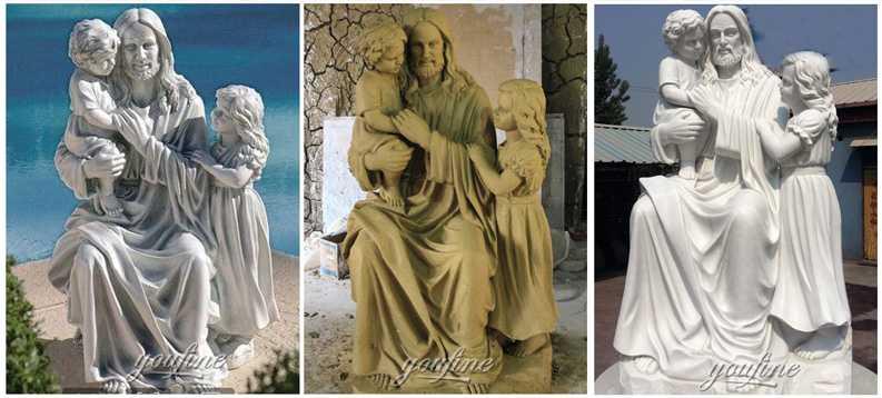 Jesus hold children sculptures
