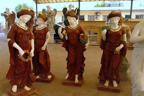 4 Piece Goddesses of four seasons statues with flowers for garden decor Design Toscano