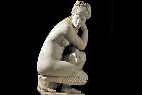 Life size marble carving Crouching Venus for home decor