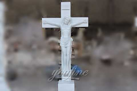 Religious marble Jesus suffered with the cross sculpture made for Carlos