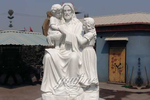 Church marble stone Jesus hold children statues for client from Costa Rica