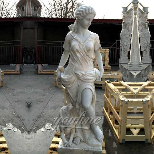 Life size marble sculptures of Artemis goddess of hunt