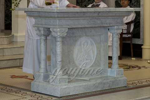 Church Decorative Indoor White Marble Altar Stand Table for Sale