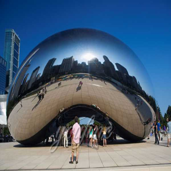 Contemporary polished stainless steel Construction of Cloud Gate for decor