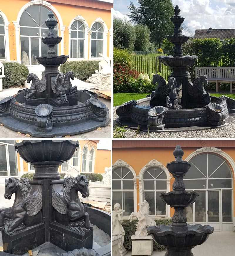 Details of marble garden tiered water fountains with horse statues outdoor