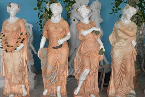 Set of 4 Cast Stone Antique Four Season Marble Statues For Garden Decor