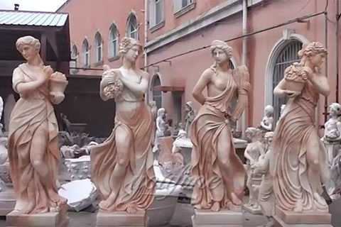 Hand Carved Outdoor Marble Four Season StatuesSculptures For Garden Decor
