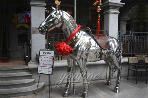 High mirror polished 316l Stainless Steel Horse Statue Sculpture for sale