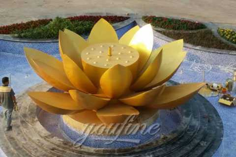 Mirror Polished  Metal Lotus shaped stainless steel Sculpture for sale