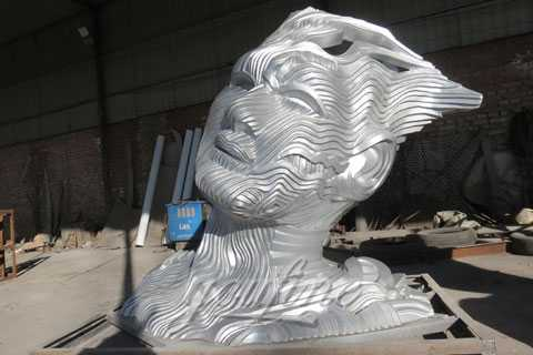 2019 Outdoor Large Bust Sculpture in Stainless Steel for Sale