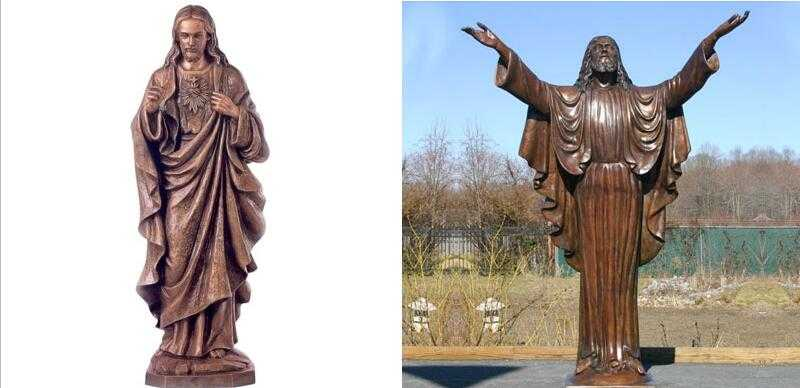 Large bronze religious statues of life size jesus open arms design for sale