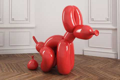 Life Size Outdoor Stainless Steel Red Metal Balloon Dog