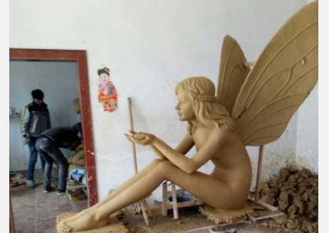 Lovely casting customized fairy bronze garden angel girl statue with dove