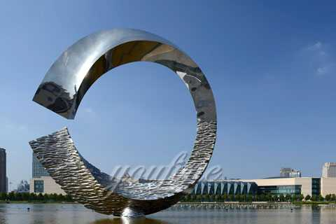 "Mirror Polished 316L polished Stainless steel sculpture""noon at water""for decor"