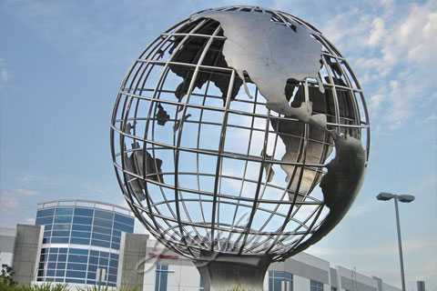 Metal outdoor earth Globe sculpture in stainless steel for sale