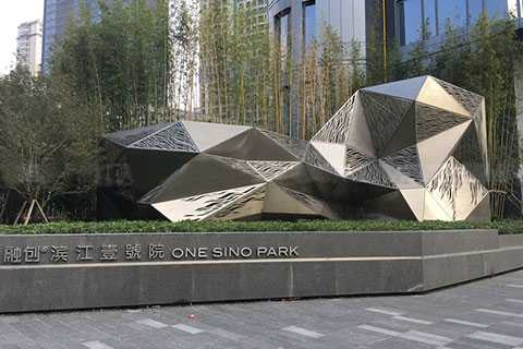 Mirror Stainless steel facade sculpture, curved shape Hyperboloid facading for outside