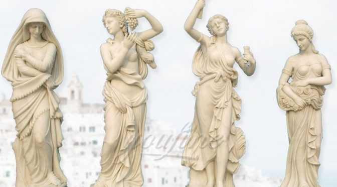 Set of 4 Cast Stone Antique Four Season Marble Statues For Garden Decor