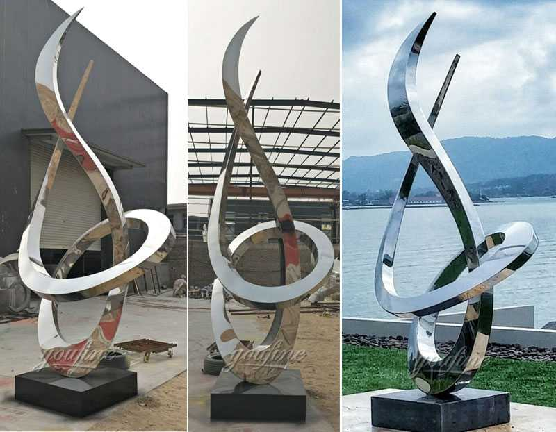 Popular style outdoor modern abstract garden decor mirror polished stainless steel sculpture for sale