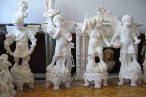 24 Cherub Four Seasons White Marble Statues For Garden