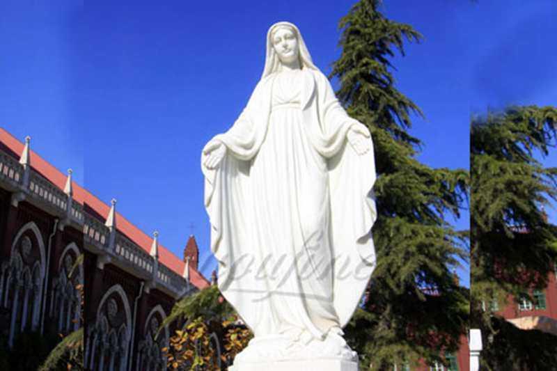 White Marble Blessed Virgin Mary Garden Statues